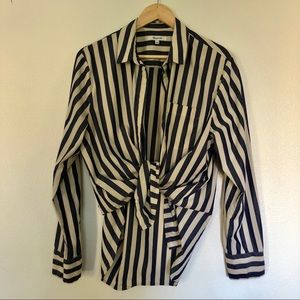 Madewell button down up stripe navy cream large